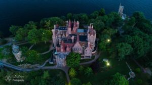 Boldt castle aerial view at night
