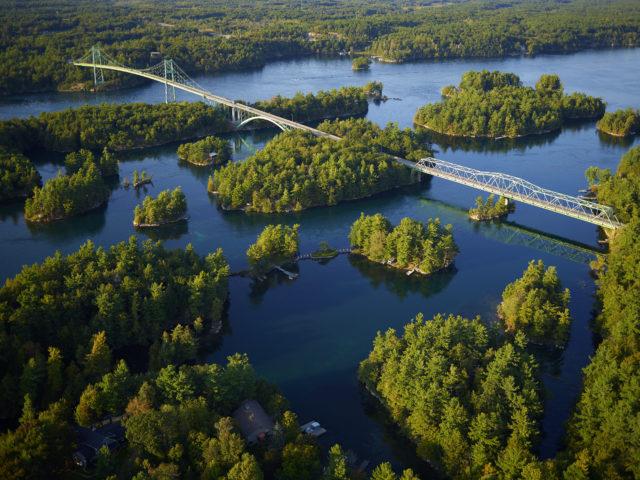 aerial view of bridge to canada