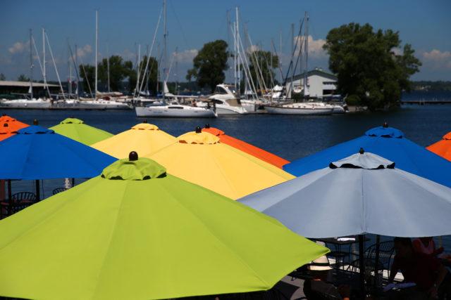 sailboats and colorful patio umbrellas