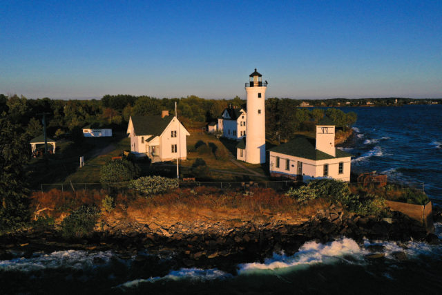aerial view of tibbetts point lighthouse